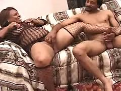 Ebony gags on a powerful white dick