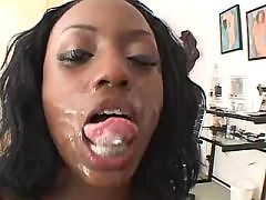 This ebony is crazy about fresh cum