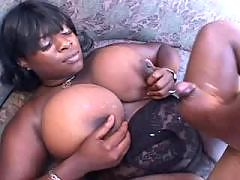 Titty ebony babe goes crazy outdoor