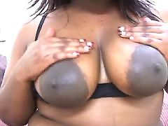 Hot ebony satisfies two white dudes