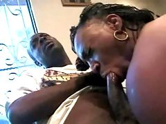 Fantastic ebony sucking white dick