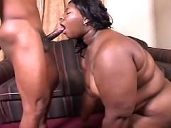 Lovely ebony gets full mouth of cum