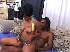 Yummy black cunt nailed by huge rod