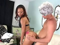 Ebony sweetie fed by double cumload