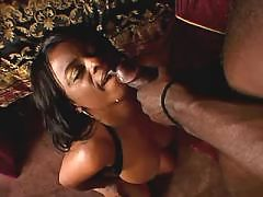 Naughty ebony trying threeway love